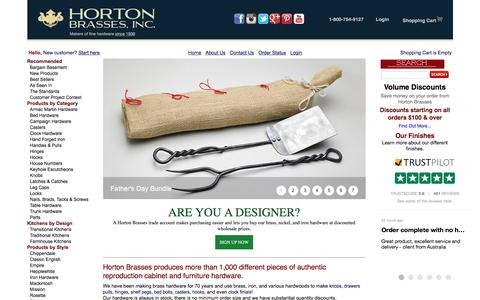 Screenshot of Home Page horton-brasses.com - Horton Brasses Inc | Makers of Fine Furniture and Cabinet Hardware - captured June 15, 2016