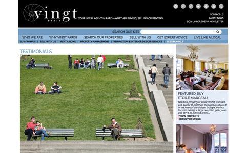 Screenshot of Testimonials Page vingtparis.com - VINGT Paris - Client Testimonials & Reviews - captured Jan. 13, 2016