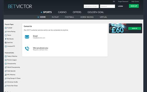Screenshot of Contact Page betvictor.com - Contact Us - BetVictor - captured Dec. 25, 2016