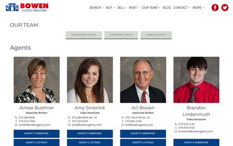 Screenshot of Team Page bowenagency.com - Lewisburg, Sunbury, Selinsgrove Real Estate Agent Contacts | Bowen Agency Realtors - captured Nov. 13, 2018