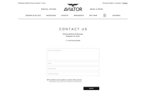 Screenshot of Contact Page aviatorbytag.com - Contact | Luxury hotel Surrey / Hampshire borders - captured Oct. 4, 2014