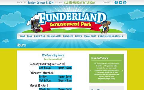 Screenshot of Hours Page funderlandpark.com captured Oct. 6, 2014