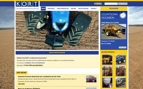 Screenshot of Home Page kort.nl - Kort Landbouwmechanisatie voor nieuw en gebruikte  tractoren en landbouwmachines - captured Feb. 12, 2016