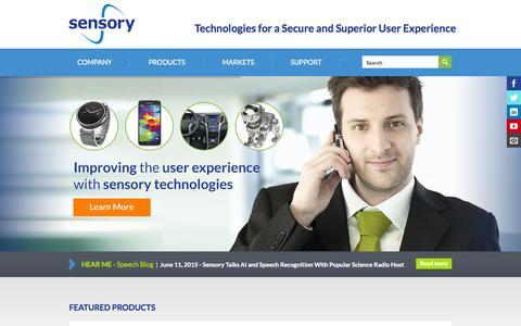 Screenshot of Home Page sensory.com - Home | Sensory - captured Aug. 2, 2015