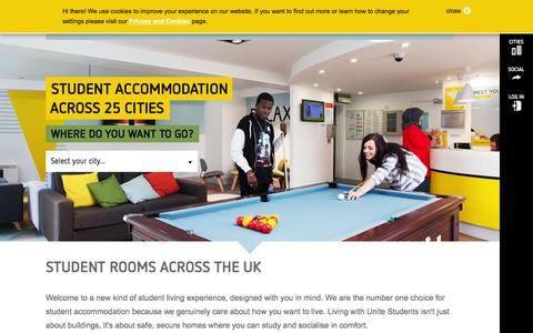 Screenshot of Home Page unite-students.com - Unite Students | Student accommodation across the UK - captured Jan. 18, 2016
