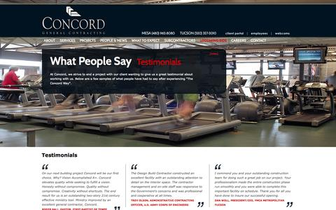 Screenshot of Testimonials Page concordinc.com - Concord General Contracting, Inc. - captured Oct. 2, 2014