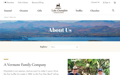 Screenshot of About Page lakechamplainchocolates.com - Vermont Chocolate Company: About Lake Champlain Chocolates - captured Nov. 4, 2018