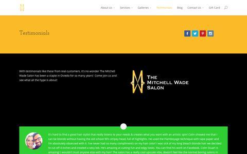 Screenshot of Testimonials Page mitchellwade.com - Testimonials - Mitchell Wade - captured June 24, 2016