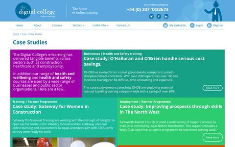 Screenshot of Case Studies Page thedigitalcollege.co.uk - Case Studies | Digital College - captured Sept. 20, 2018