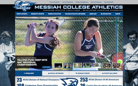 Screenshot of Home Page gomessiah.com - GoMessiah.com - Messiah College Athletics - captured Oct. 11, 2015