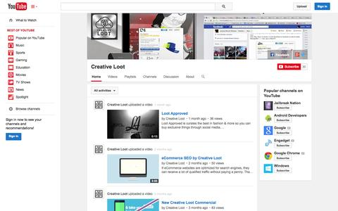 Screenshot of YouTube Page youtube.com - Creative Loot  - YouTube - captured Oct. 23, 2014