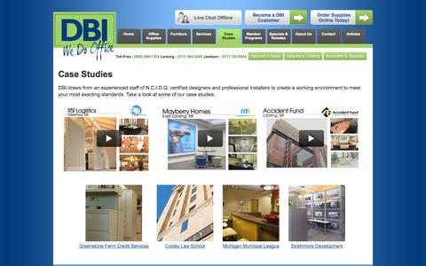 Screenshot of Case Studies Page dbiyes.com - Office Interior Design Photos Lansing | DBI Office Interiors - captured Oct. 5, 2014