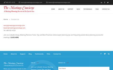 Screenshot of Contact Page meetingsconcierge.com - Contact The Meetings Concierge - captured Oct. 18, 2018