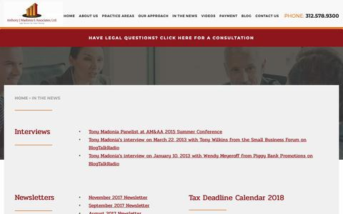Screenshot of Press Page madonia.com - In the News | Anthony J. Madonia & Associates, Ltd. - captured Oct. 3, 2018