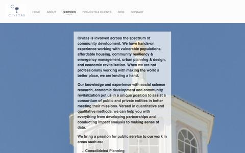 Screenshot of Services Page civitassc.com - Services — Civitas - captured Oct. 2, 2014