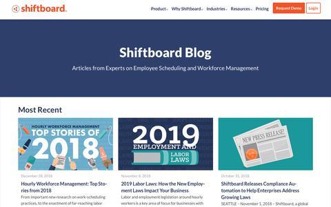 Screenshot of Blog shiftboard.com - Shiftboard Blog | Employee Scheduling and Shift-Based Workforce Content - captured Feb. 6, 2019