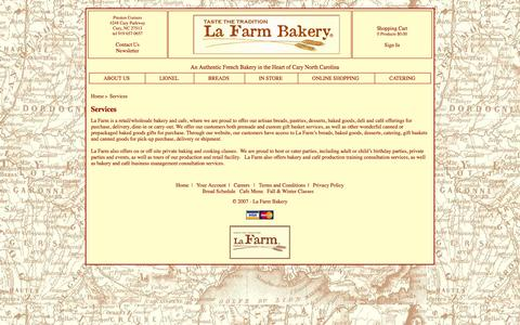 Screenshot of Services Page lafarmbakery.com - Services - captured Sept. 27, 2014