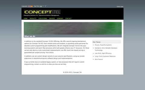 Screenshot of Services Page concept-tel.com - Concept-Tel - captured Sept. 30, 2014