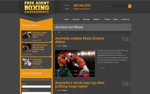 Screenshot of Press Page freeagentboxing.com - News | Free Agent Boxing Management, LLC. - captured Oct. 6, 2014