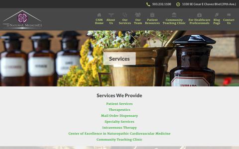 Screenshot of Services Page cnmwellness.com - Center For Natural Medicine   Our Naturopathic Services - captured Nov. 10, 2018