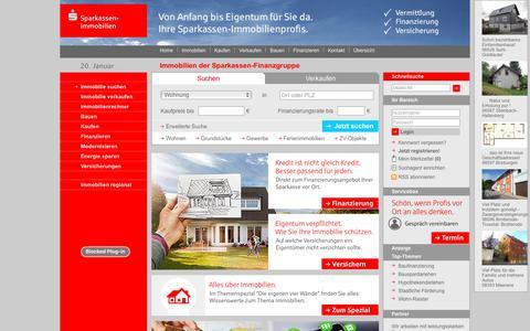 Screenshot of Home Page s-immobilien.de - Immobilien, Wohnungen, HÀuser - Sparkassen-Immobilien.de - captured Jan. 20, 2016