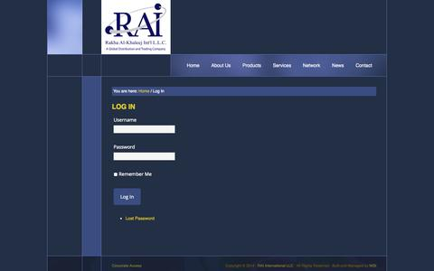 Screenshot of Login Page rai-uae.com - Log In - Rakha Al-Khaleej Int'l, Dubai - UAE - captured Oct. 6, 2014