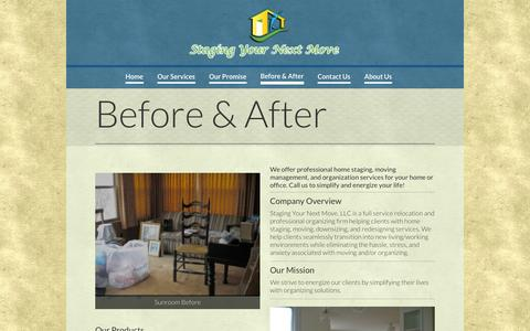 Screenshot of About Page stagingyournextmove.com - Home Staging | Unpacking Services | Move In Move Out Louisville Ky - captured Oct. 1, 2014