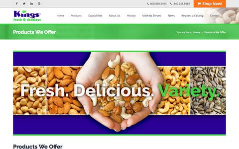 Screenshot of Products Page kingnut.com - King Nut Company | Peterson's Gourmet Nuts & Snacks | Products We Offer - captured July 28, 2017