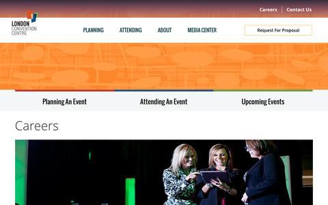 Screenshot of Jobs Page londoncc.com - Careers   London Convention Centre - captured Nov. 13, 2016