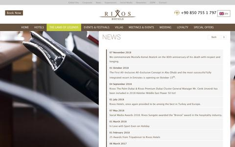 Screenshot of Press Page rixos.com - NEWS - captured Aug. 6, 2019