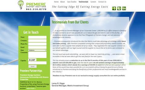 Screenshot of Testimonials Page myenergyauction.com - Testimonials | Premiere Energy Auctions - captured Oct. 2, 2014