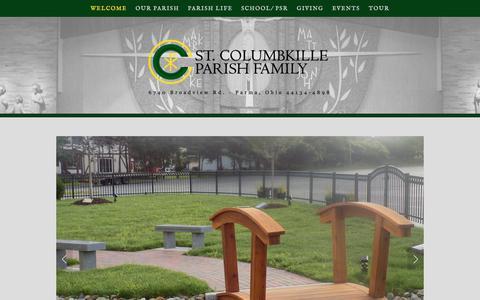 Screenshot of Home Page stcolumbkilleparish.org - Saint Columbkille Parish Parma, OH - captured July 2, 2018