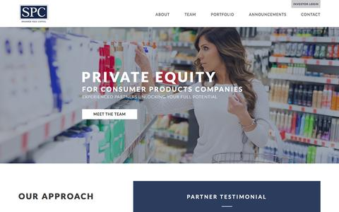 Screenshot of Home Page spcap.com - Swander Pace Capital - Private Equity for Consumer Products Companies - captured Dec. 2, 2016