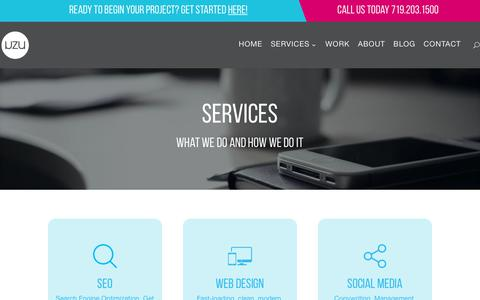 Screenshot of Services Page uzu-media.com - Services - SEO, Social Media, SEM, Web Design   UZU Media - captured Sept. 20, 2018