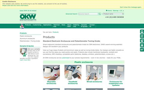 Screenshot of Products Page okw.co.uk - Electronic Enclosures, Potentiometer Knobs   OKW - captured Oct. 18, 2018