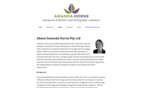 Screenshot of About Page amandahorne.com.au - About – Amanda Horne - captured Oct. 8, 2017