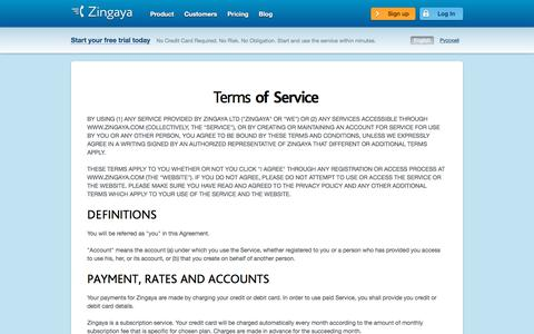 Screenshot of Terms Page zingaya.com - Terms of Service - captured Sept. 22, 2018