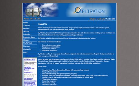 Screenshot of About Page o2filtration.com - Dust Collection, Fume Collection, Energy Management Systems, Material Separator, & Briquette Process by O2Filtration - captured Oct. 27, 2014