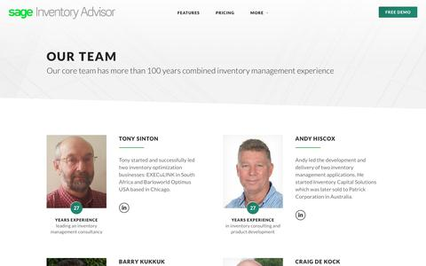 Screenshot of Team Page inventoryadvisor.co - Our Team of Inventory Management Experts | Inventory Advisor - captured July 10, 2018
