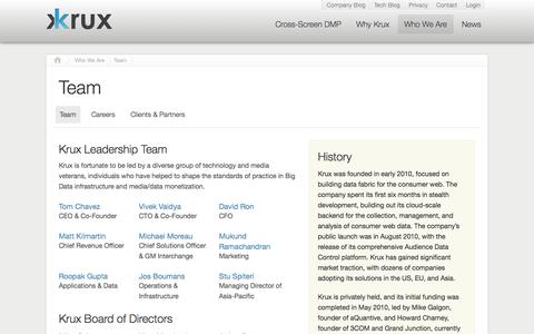 Screenshot of Team Page krux.com - Founders, leadership team, and company history | Krux - captured Sept. 16, 2014