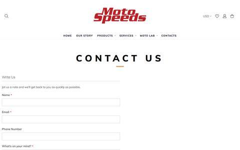 Screenshot of Contact Page motospeeds.com - Contact Us - captured Feb. 22, 2020