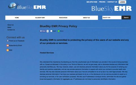 Screenshot of Privacy Page blueskyemr.org - BlueSky EMR  Privacy Policy :: BlueSky EMR - captured Sept. 30, 2014