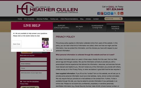 Screenshot of Privacy Page lawcullen.com - Privacy Policy | The Law Office of Heather Cullen, A Professional Corporation | - captured Jan. 26, 2016