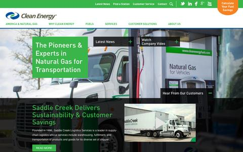 Screenshot of Home Page cleanenergyfuels.com - Clean Energy Fuels | Your Partner in Natural Gas for Transportation - captured Sept. 21, 2015