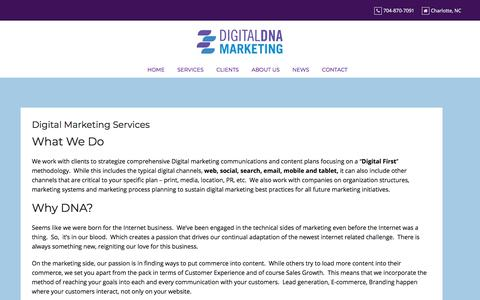 Screenshot of Services Page digitaldnamarketing.com - Digital Marketing Services - Digital DNA Marketing - captured July 12, 2019