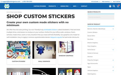 Screenshot of Products Page stickergenius.com - Create Your Own Signs or Custom Made Stickers - captured July 23, 2019