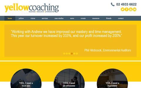 Screenshot of Home Page yellowcoaching.com.au - Yellow Coaching - captured Feb. 13, 2016