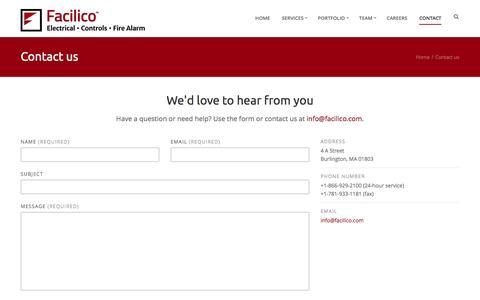 Screenshot of Contact Page facilico.com - Facilico - Contact - captured Jan. 8, 2016