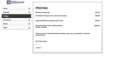 Screenshot of Pricing Page tagango.info - TAGanGO - Helping You Get The Most From Your TAGs and QR Codes - captured Sept. 30, 2014