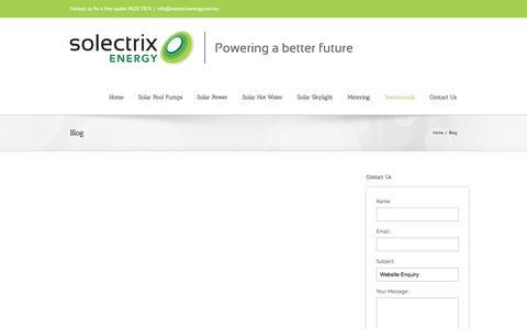 Screenshot of Blog solectrixenergy.com.au - Solectrix Energy   Solar Power Sydney Blog: Solectrix Energy   Solar Pool Pumps   Solar Power Sydney - captured Sept. 30, 2014